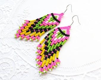 Long beaded earrings Rainbow earrings Long fringe earrings American Indian style jewelry Seed bead Cheap gifts Love gift Birthday gift