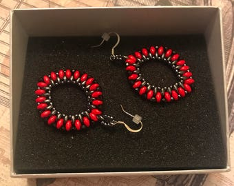 Oval Red Beaded Earrings