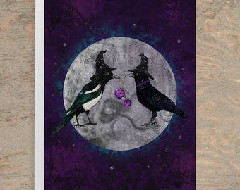 THE SECRET GATHERING Greeting Card, Halloween Greeting Card, Samhain Card, Crow Card, Bird Cards, Pagan Cards, Witch Card, Magpie, Moon