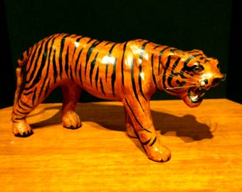 Vintage Leather Tiger Sculpture Hand Painted Collectible