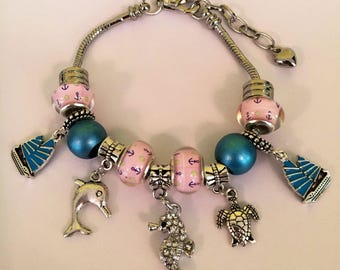 Pink and blue nautical sea creature European charm bracelet summertime