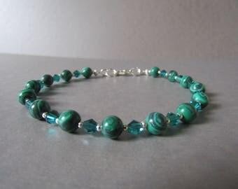 Green Malachite & Swarovski Crystal Bead Bracelet Naturl with Sparkle!!