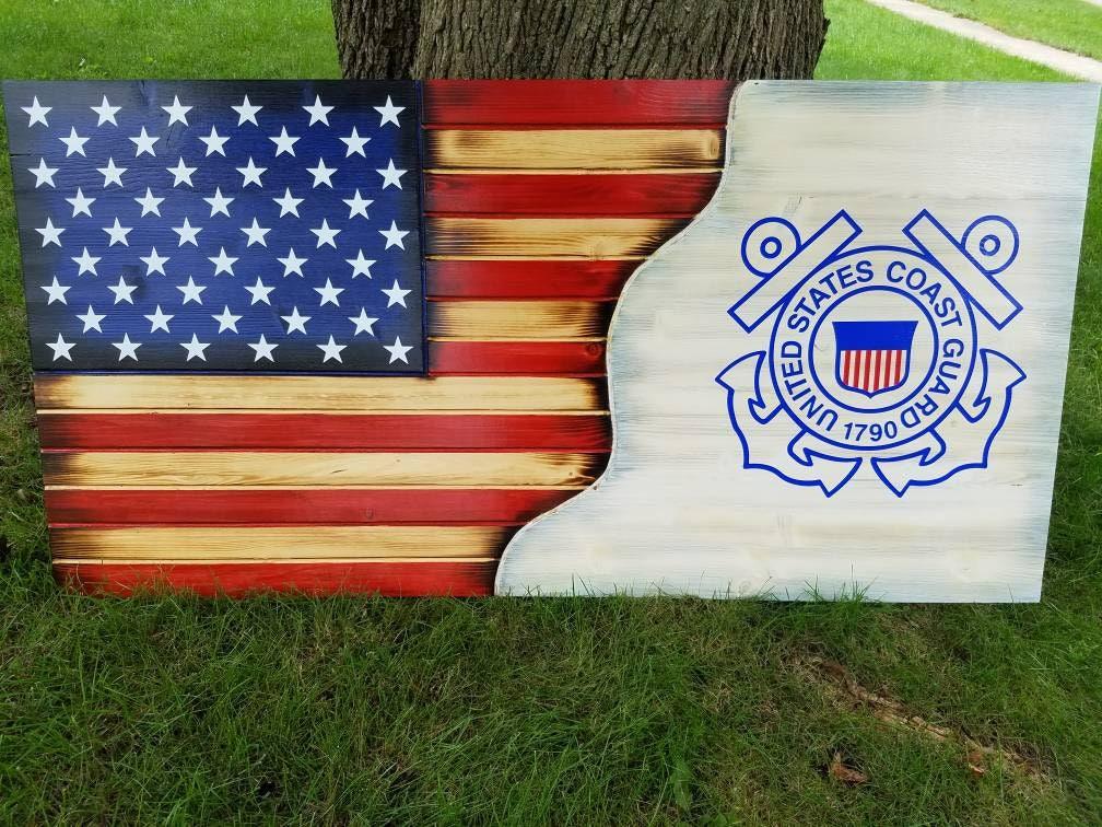 American Flag Coast Guard Military Rustic Distressed Charred Wood