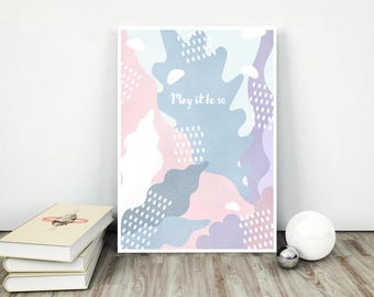 wall art be so grey rose blue interior pattern lilac print decor modern poster artwork sea bottom pastel girl baby abstract blue grey soft