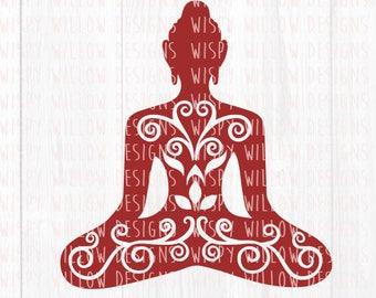 Meditating Buddha SVG, Digital Download, DXF, png, pdf, jpeg, eps, Meditation, Yoga, Ohm, Buddha, Relax, Relaxation, Meditate, Decal File