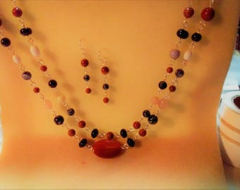 A Whisper Of Carnelian Necklace and Earring Set
