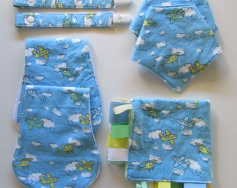 Mega Baby Shower Gift Pack - Bandana Bib, Dummy Clips, Burp Cloth Tag Blanket