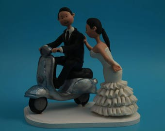 Wedding Cake topper Vespa Customised Bride & Groom on motocycle Cake Topper. Wedding keepsake. The bride and groom.  Cake topper.