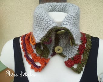 Neck gray mohair and wool