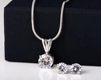 Cubic Zircon Silver Clear crystal jewellery set earrings & necklace