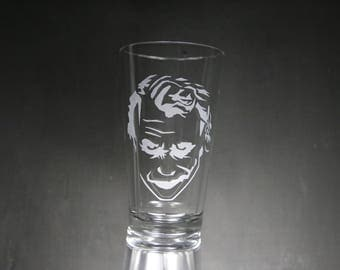 Joker Etched Glass, Batman, Personalized Gift, Custom Gift, Glassware.