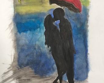 Blind Love / Original Art / Wall Art / Watercolor Painting / 13x6