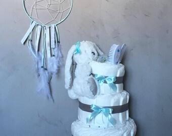 Grey and Blue Boy diaper cake