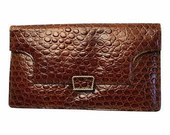 1970s Brown Leather Mock Croc Vintage Clutch Bag