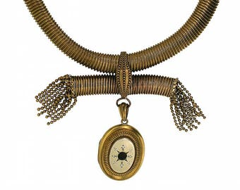 Victorian Gilt Metal Gaspipe Chain and Locket Necklace