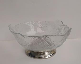 Vintage Glass Cabbage Leaf Lettuceware Serving Bowl with Sterling Silver Plated Base