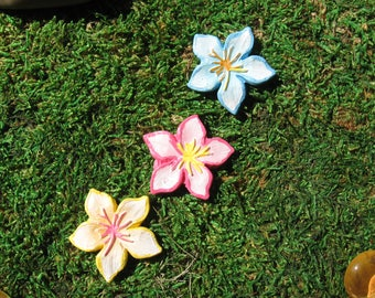 3 Pieces Miniature Flower Stepping Stone