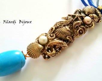 Bronze nautical pendant with natural stones