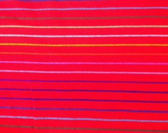 Mexican Fabric Red Cambaya Serape Ethnic Zarape Colorful Stripes By the Yard