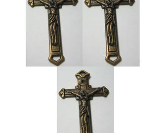 Quantity 3 Cross Finding Charm Pendant Bronze / Antiqued Brass Color
