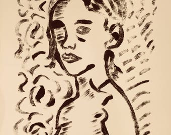 Monotype Female Portrait on Hot Press Paper and Black Akua Ink 8x10 inches