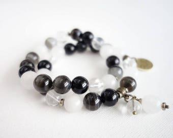 Stone beads bracelet, round beads bracelet, black and white bracelet, agate bracelet, rock crystal bracelet, bracelet with pendant, gemstone