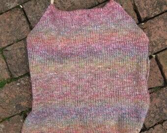 Knitted, rainbow, upcycled summer halter/halterneck top - handmade ecofashion