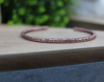 Minimal Hammered Copper Cuff Bracelet