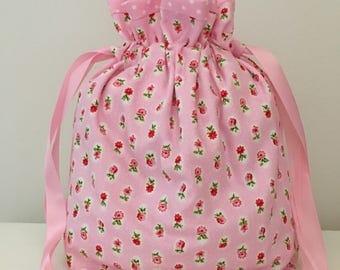 Knitting bags / knitting project bag / sewing bag / crochet bag - pink floral