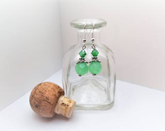 Jade, Silver, Dainty, Dangle, Earring, Lucky, Green, For Her