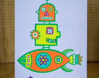 Robot Greetings Card - Robot Card, Rocket Card, Birthday Card, Spaceship, Rocketship, Space, Alien, FREE SHIPPING!