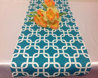 Handmade Tablerunner 13W x 36L in Turquoise/White Geometric Print, Home Decor, Ready to Ship