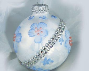 Christmas Ornament. Painted Ornament. Mud Ornament. Holiday Ornament. Glass Ornament. Handpainted Ornament.