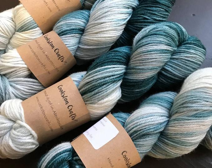 "100g 100% Superwash Merino DK double knit yarn, hand dyed in Scotland, dark green, ""seaweed"""