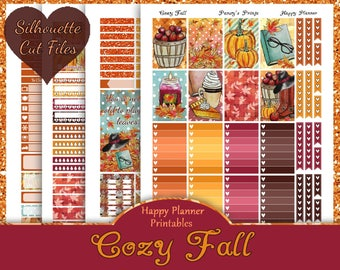 Cozy Fall~Printable Happy Planner Stickers Fall Weekly Kit For The Classic MAMBI Happy Planner with Free Silhouette Cut Files