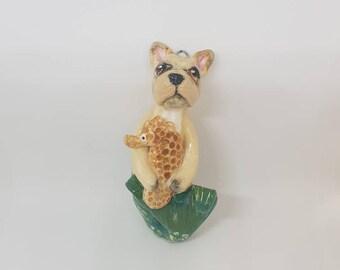 French Bulldog Grrrmaid - ceramic sculpture / hanging ornament. (Mermaid, Merdog, Dogfish.)