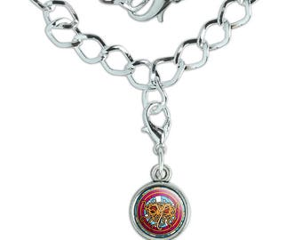 Flying Spaghetti Monster Stained Glass Silver Plated Bracelet with Antiqued Charm
