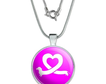 "Dachshund Wiener Dog Love Heart 1"" Pendant with Sterling Silver Plated Chain"