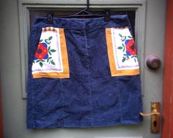 Retro Vintage Blue Corduroy Upcycled Reclaimed Skirt Embellished