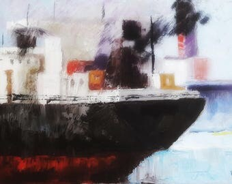 Original Oil Painting on Canvas - Tanker - Ship - Art - Decor - Gift