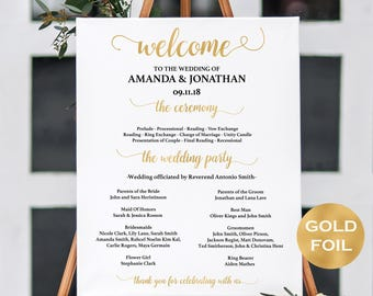 Welcome Sign Wedding - Welcome Wedding Template - Welcome Ceremony Sign Printable - Simple Wedding - Downloadable wedding #WDH67WG9