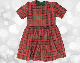 Dress Scottish red girl with Cap sleeves 100% cotton - Tartan check