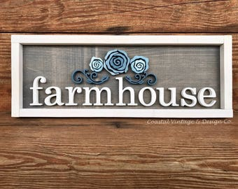 Handcrafted Wood Sign FARMHOUSE With Blue Floral Wall Art Farmhouse Style