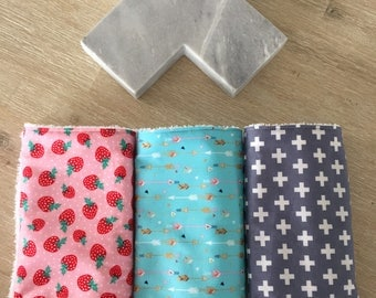 Baby burp cloth / dribble cloth - set of 3