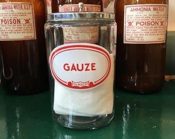Vintage gauzy hospital glass jar