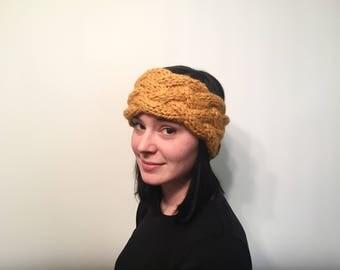 ON SALE, Women's Braided Knit Mustard Headband, Winter Knit Headband, Cable Knit Ear Warmer