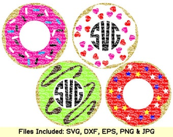 Love donut svg files for Cricut Silhouette, Doughnut donuts monogram frame svg birthday party invitation clipart sign pattern dxf cut files