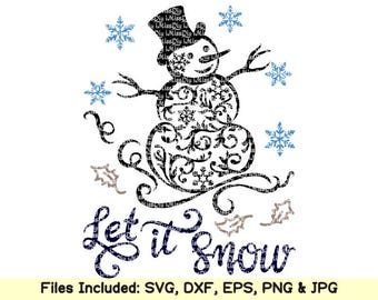 Let it snow svg let it snow snowman svg christmas svg snowflake svg face monogram svg files for cricut silhouette shirt designs dxf cut file