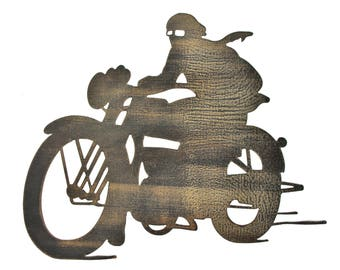 Steel Motorcycle with Rider