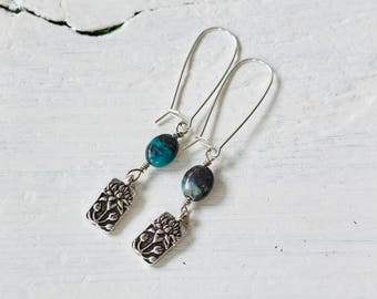 silver flower  charm and chrysocolla earrings